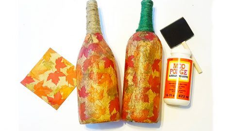 DIY Fall Leaves Wine Bottles | DIY Joy Projects and Crafts Ideas