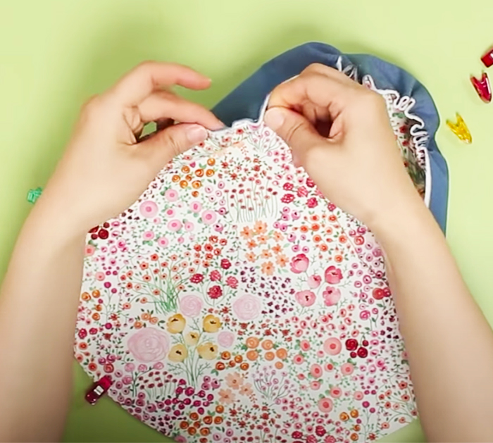 Sew Together For Open Wide Bag - Gathered Pouch DIY - Zipper Pouch