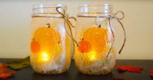 DIY Mason Jar Fall Candle Holders