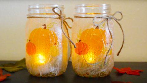 DIY Mason Jar Fall Candle Holders | DIY Joy Projects and Crafts Ideas