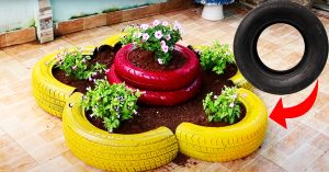 DIY Old Tires Into Flower Pots