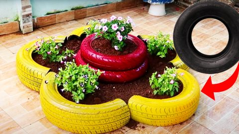 DIY Old Tires Into Flower Pots | DIY Joy Projects and Crafts Ideas