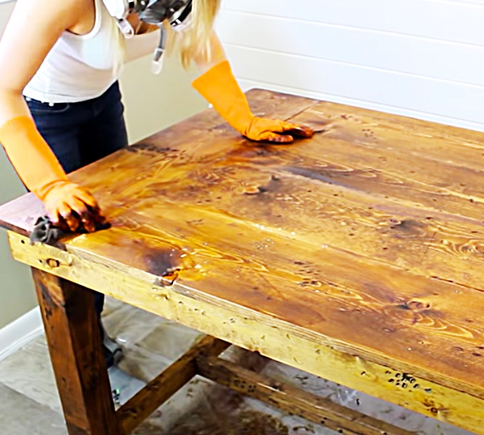 How To Stain A Table - DIY Painting And Staining Raw Furniture - How To Make a Wood Table