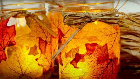 Fall Leaves Mason Jar Centerpieces