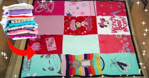 Turn Old T-shirts To Patchwork Blanket