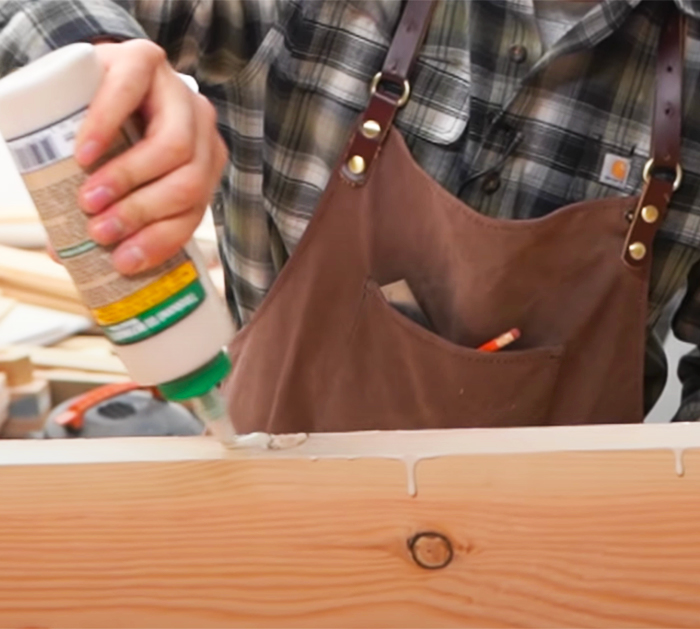 Glue The Wood Pieces To Stick - Wooden Desk - Simple Woodworking