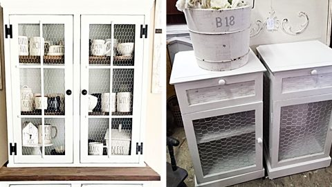 How To Make A Country Cabinet With Chicken Wire Doors | DIY Joy Projects and Crafts Ideas