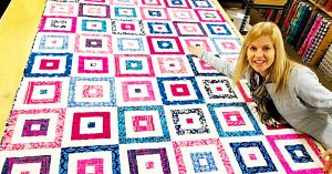 Striped Squares Fat Quarter Quilt With With Free Pattern