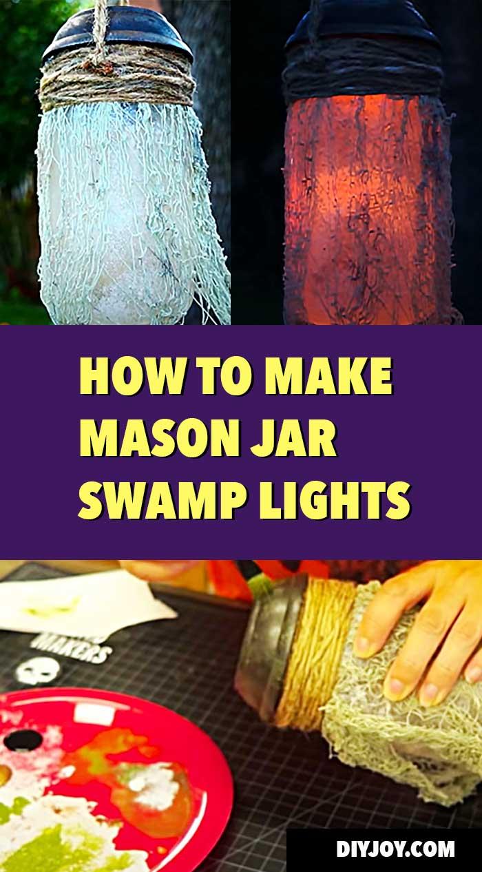DIY Halloween Decor Ideas for Yard - Mason Jar Swamp Lights Tutorial - How to Make Swamp Lights - Spooky and Creepy Yard Decor Ideas