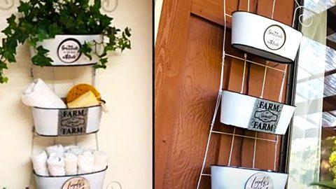 Dollar Tree DIY Farmhouse Hanging Organizer | DIY Joy Projects and Crafts Ideas