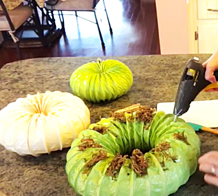 Use Dryer Duct Hose To Make A Pumpkin Topiary - DIY Fall Dryer Duct Pumpkin - Autumn Decor Ideas