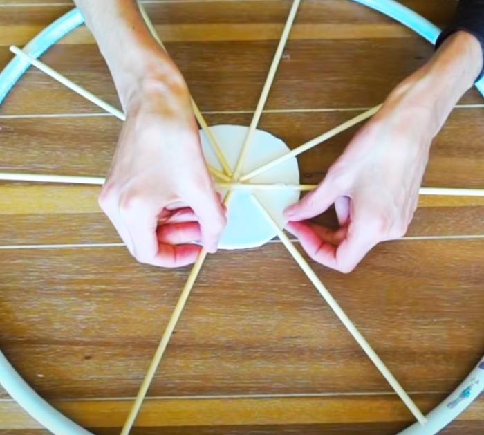 Hula Hoop Wagon Wheel - Wreath Ideas - DIY At Dollar Tree