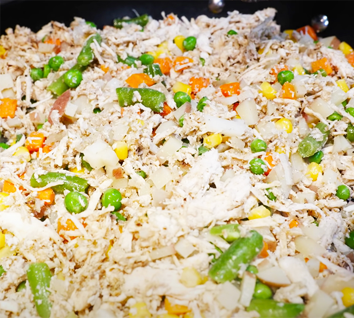 Make Rice and Chicken For Baked Burritos - White Sauce Recipes - Burrito Recipes