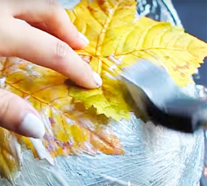 Use Bowl to Mod Podge Leaves - Create A Leaf Bowl - Fall Home Decor