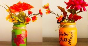 Dollar Tree DIY Fall Mason Jar Centerpiece