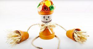 Dollar Tree DIY Scarecrow Flower Pot