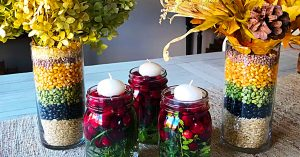DIY Fall Corn And Bean Floral Arrangement