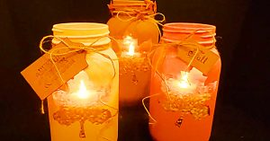 DIY Fall Leaf Mason Jar Candle Holders