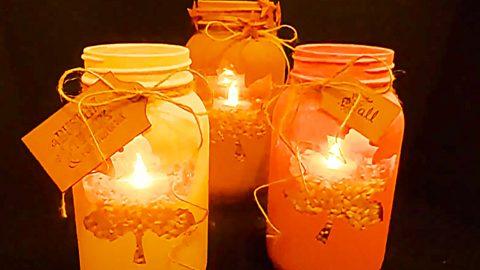 DIY Fall Leaf Mason Jar Candle Holders | DIY Joy Projects and Crafts Ideas