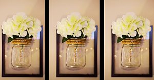 Dollar Tree DIY Mason Jar Framed Sconce