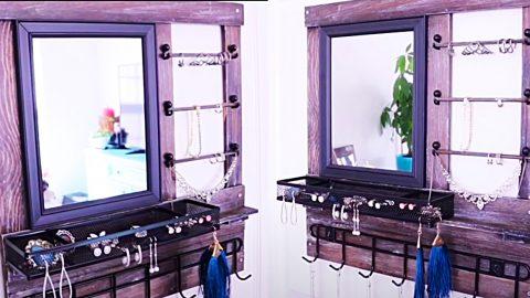 Dollar Tree DIY Wall-Mounted Wood Jewelry Organizer | DIY Joy Projects and Crafts Ideas