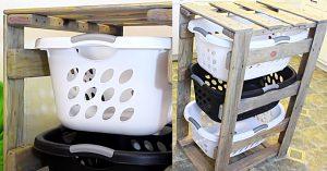DIY Pallet 3-Tier Laundry Basket Holder
