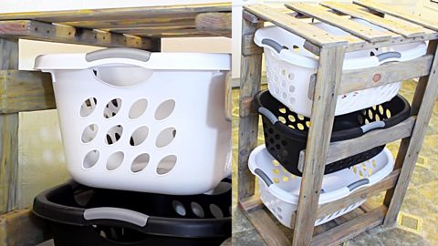 DIY Pallet 3-Tier Laundry Basket Holder | DIY Joy Projects and Crafts Ideas