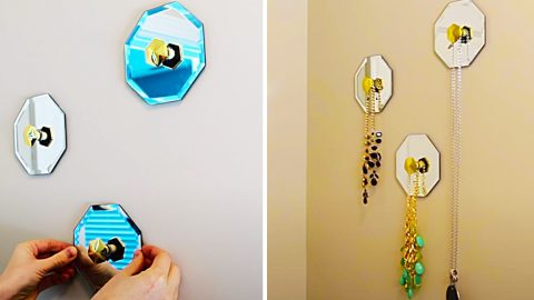 Dollar Tree DIY Mirrored Necklace Hangers | DIY Joy Projects and Crafts Ideas