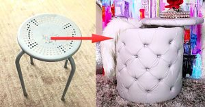 Turn An Old Stool Into A Tufted Ottoman With Storage