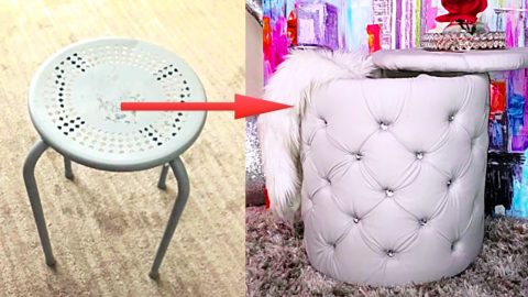 Turn An Old Stool Into A Tufted Ottoman With Storage | DIY Joy Projects and Crafts Ideas