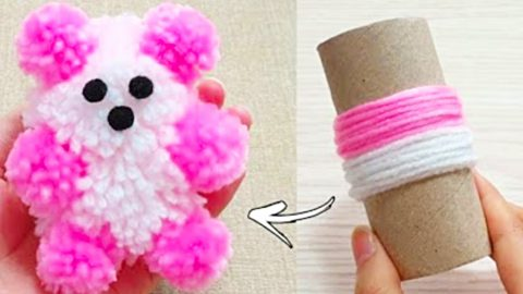 How To Make A Pom-Pom Teddy Bear   DIY Joy Projects and Crafts Ideas