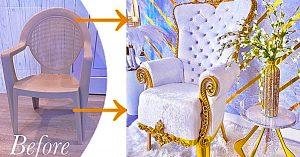 Turn A Plastic Chair Into A Throne Chair