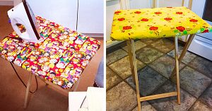 Turn a TV Tray Into An Ironing Board With Free Pattern
