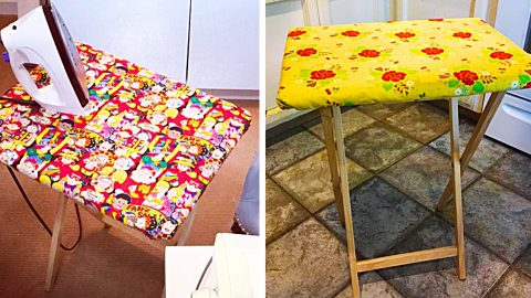 Turn a TV Tray Into An Ironing Board With Free Pattern | DIY Joy Projects and Crafts Ideas