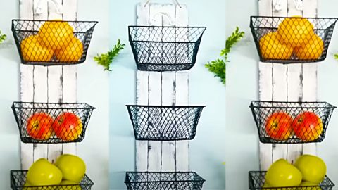 Dollar Tree Wall Mounted Fruit Baskets | DIY Joy Projects and Crafts Ideas