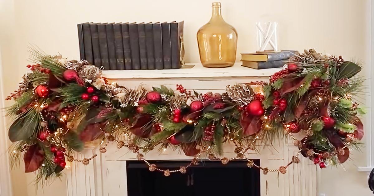 Diy Christmas Fireplace Mantel Garland