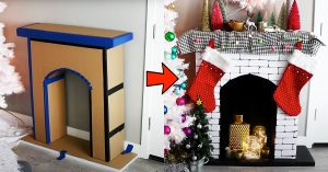 DIY Faux Fireplace Made Out Of Cardboard