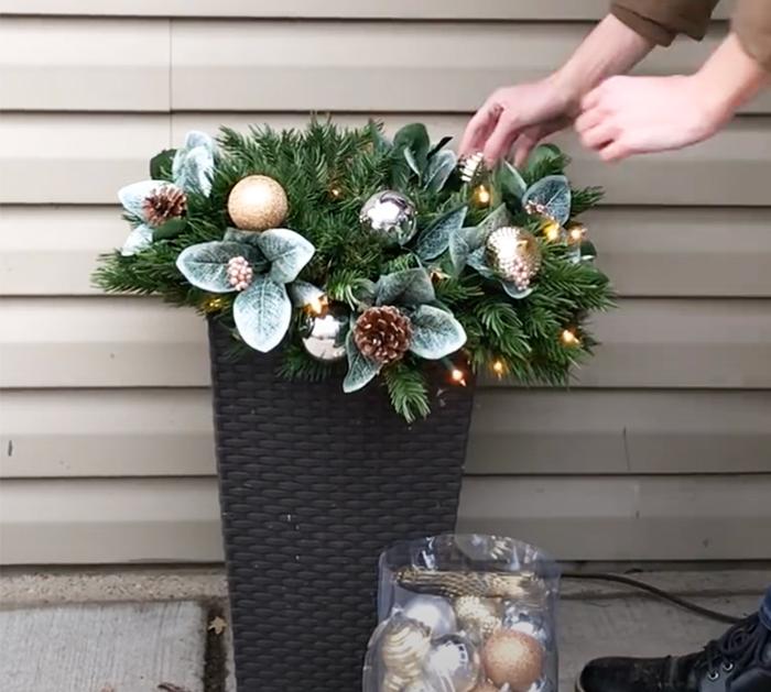 How To Make a Lantern Planter - DIY Outdoor Christmas Planters