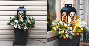 DIY Lantern Planter Floral Arrangement