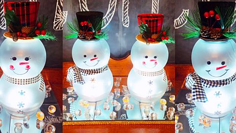 How To Make A Dollar Tree DIY Lighted Snowman   DIY Joy Projects and Crafts Ideas