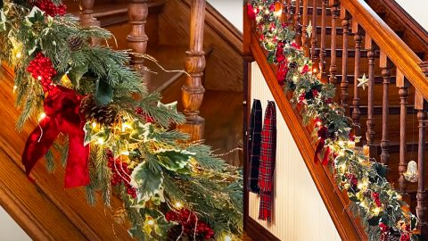 Easy DIY Christmas Staircase Garland | DIY Joy Projects and Crafts Ideas