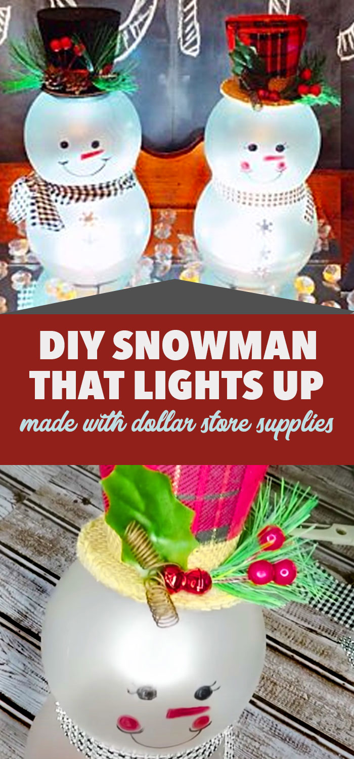 Dollar Store Christmas Crafts - DIY Snowman That Lights Up - Cheap Holiday Decor Ideas #christmas #christmascrafts #dollarstorecrafts