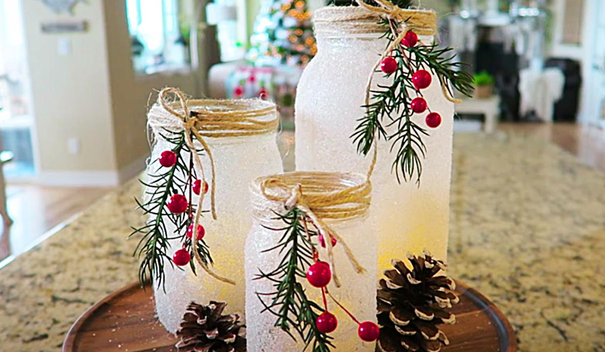 Diy Snowy Mason Jar Candle Holder