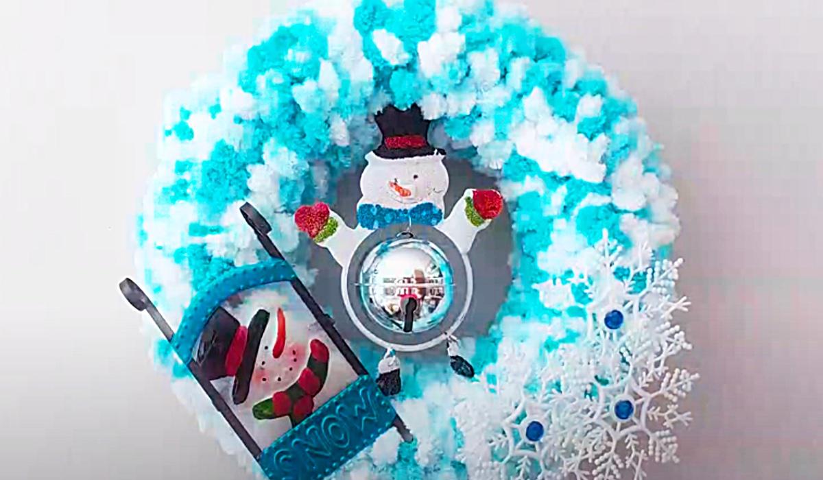 How To Make A Pom Pom Snowman Wreath