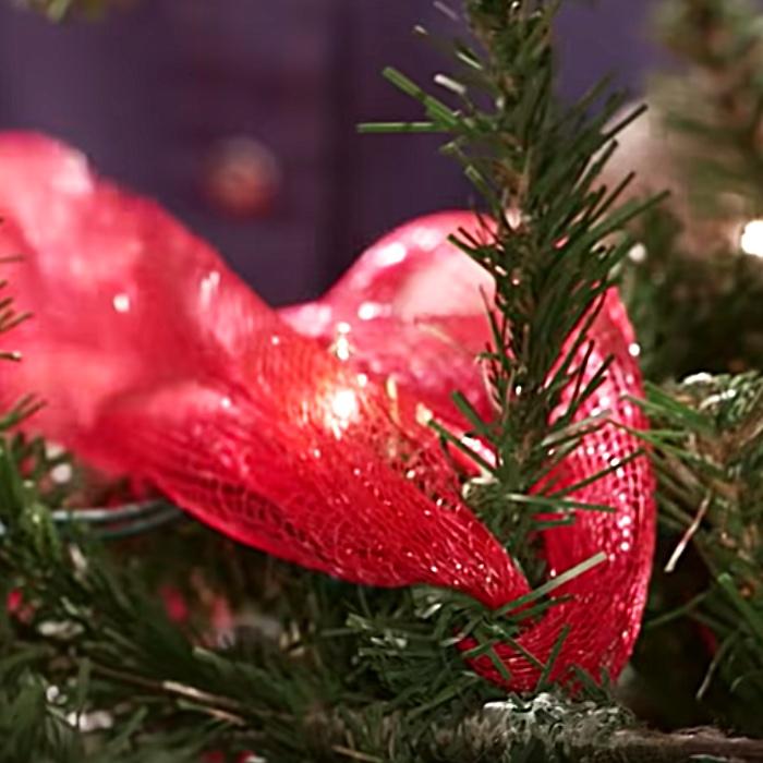 Ribbon Tree Decoration Ideas - DIY Ribbon Tree - Dollar Tree Christmas Decor