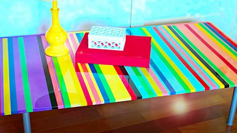 DIY Striped Coffee Table | DIY Joy Projects and Crafts Ideas