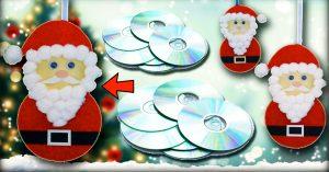 DIY Santa Claus Wall Hanging Using CDs