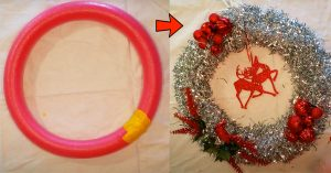How To Make A Christmas Wreath Out Of A Pool Noodle