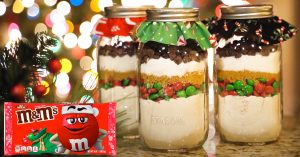 Mason Jar M&M Cookie Mix Recipe Gift Idea