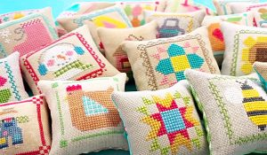 DIY Cross Stitch Mini Pincushion Pillows
